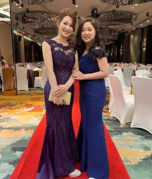 (台北媽媽禮服)M59紫蕾絲亮鑽魚尾長禮服