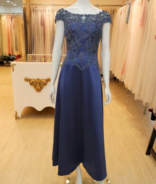(台北媽媽禮服)MB30-1經典深灰藍緞珠工卡肩A-line長禮服