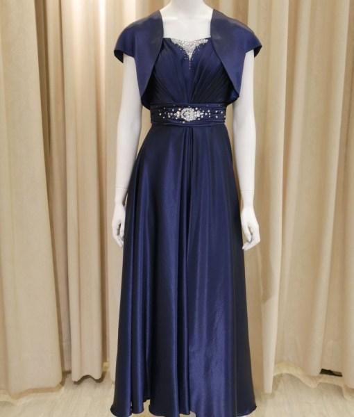 (台北媽媽禮服)MJ104深藍緞圓裙長禮服