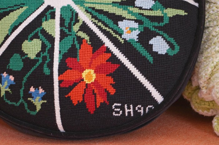 pillow-round-black-colorful-Vintage-floral-needlepoint-detail