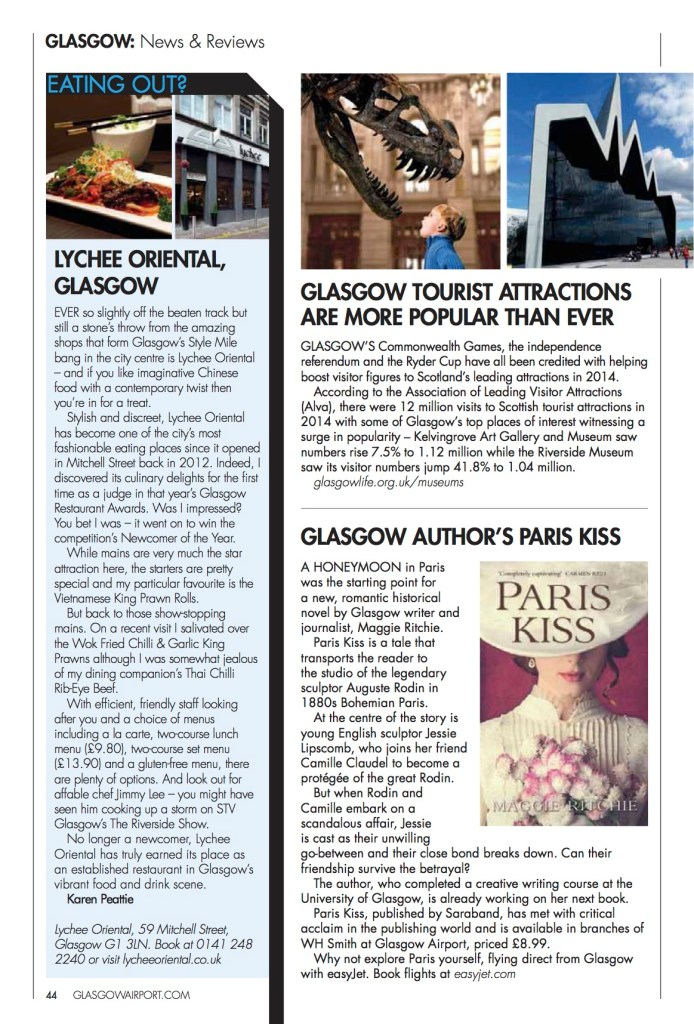 Paris Kiss in Glasgow Airport's High Flyer magazine