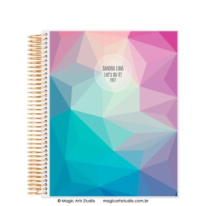 Magic Planner tamanho Large com espiral dourado - Abstract winter