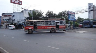 The local bus from Surat Thani train station to Seatran Ferry Bus Station in Surat Thani