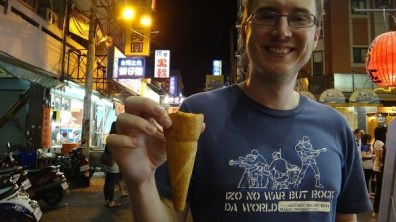 Andrew With Pizza Cone In Taichung