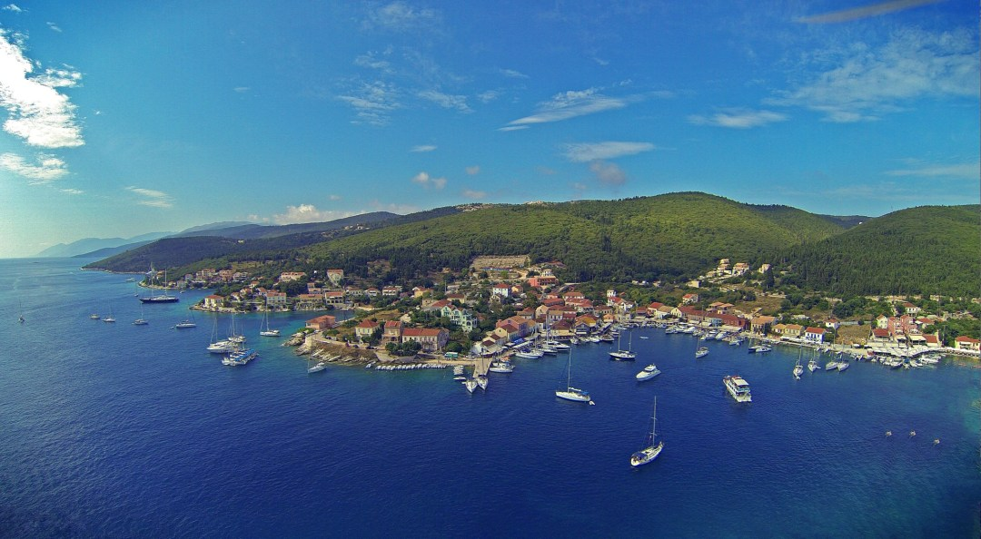 An aerial view of Fiscardo
