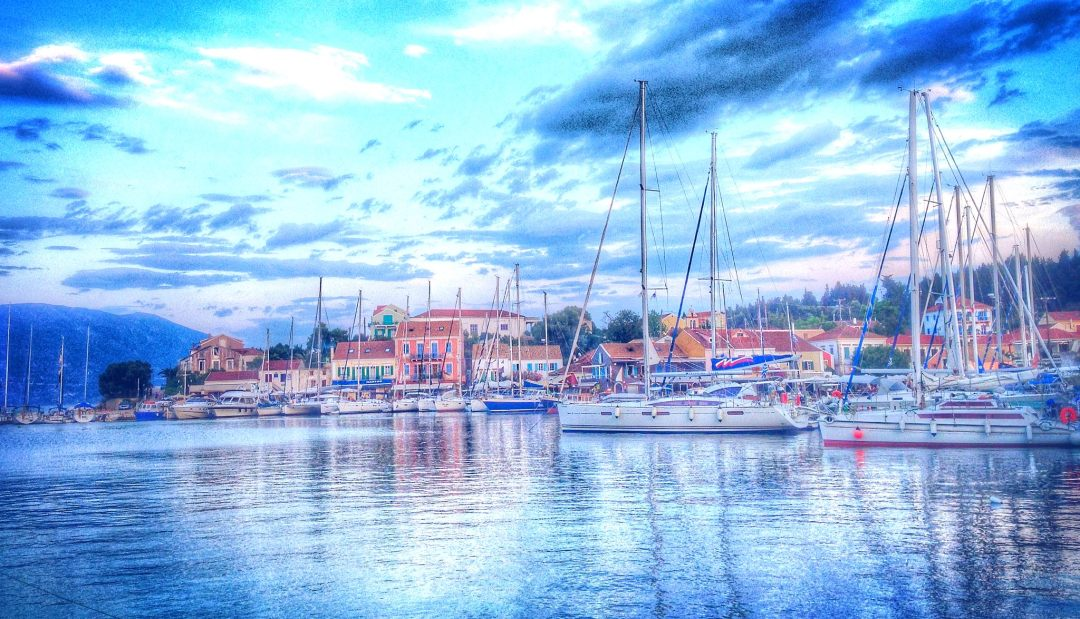 Fiscardo Harbour in the afternoon