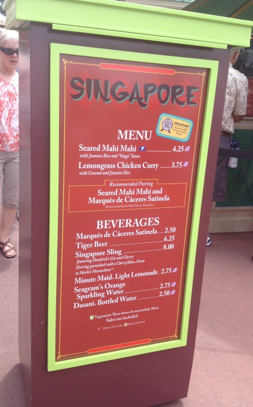 Singapore menu at the Epcot International Food and Wine Festival