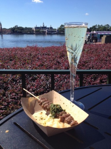 Argentina's Grilled Beef Skewer with Chimichurri Sauce and Boniato Puree and Pascual Toso Sparkling Brut at the Epcot International Food and Wine Festival