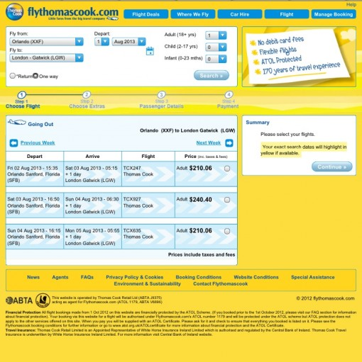 Cheap flights between the UK and US on Thomas Cook