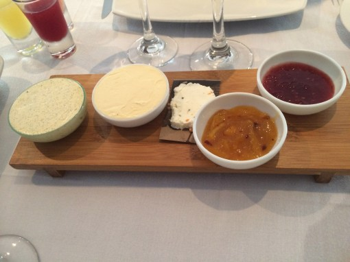 Selection of marmalades, butters, and spreads at Benazuza in Cancun, Mexico