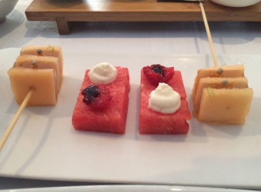 Melon with Honey Brochette and Watermelon and Modena at Benazuza in Cancun, Mexico