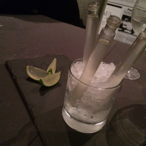 tequila shot with lime jello chaser at Benazuza in Cancun, Mexico