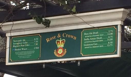 Beer menu for the U.K. in Epcot