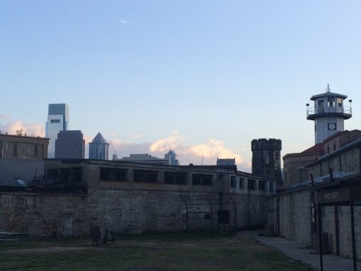 View of Philly from the Eastern State Penitentiary prison yard.