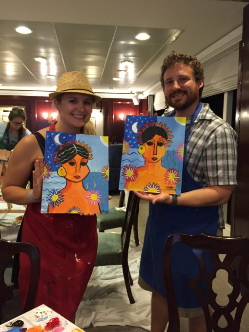 Wine and Paint night aboard the Fathom Adonia
