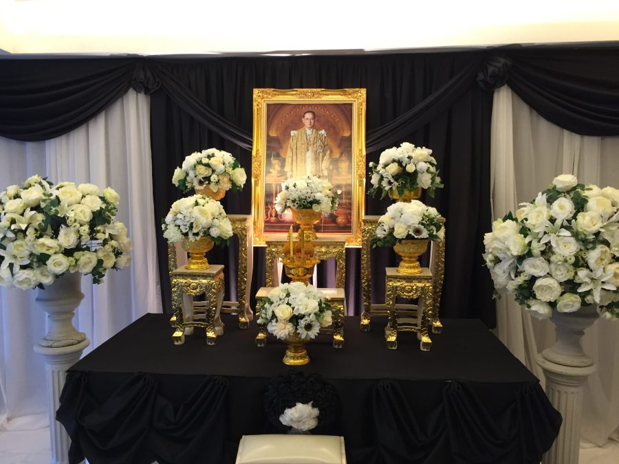 Tributes and alters to the late King can be seen all over Thailand as they mourn.