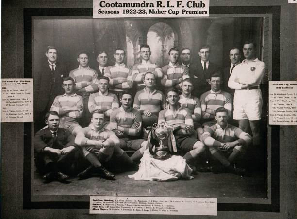 The Cootamundra team of 26 Sep 1923 which won the Maher Cup outright. In 1924 they put the money spinner back into play. Back: Left-Right; M.J. Ryan (Selector), M. Tuncheon, P. J. Kiley (Hon Sec), Bill Lesberg, Bob Condon, C. Swartzel, D.J. Rand (President), B. Kinnane, W. Farrer (vice President), Delaney, Referee (Sydney) 2nd Row: F. Hayward, Jim Watson, Phil Regan (Captain & Coach), Ray Sheedy, L.T. Quinlan Front Row: C.H. Inson (Hon Treasurer), Brian O'Connor, Curtis 'Dick' Pellow, Eric Weissel, Tom 'Dipper' McDevitt Absent players: Wal Franklin, Phil Freestone, T. Ryan, J. Large, J. Kelley, P. Mills, Charlie Schofield. (These would have been players who didn't play in the particular match but contributed in other games)