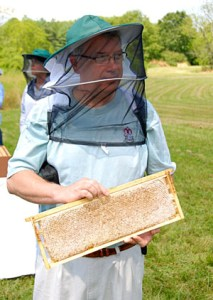 J. Hildreth - President of the Cumberland County Beekeepers Association with a spectacular frame of honey