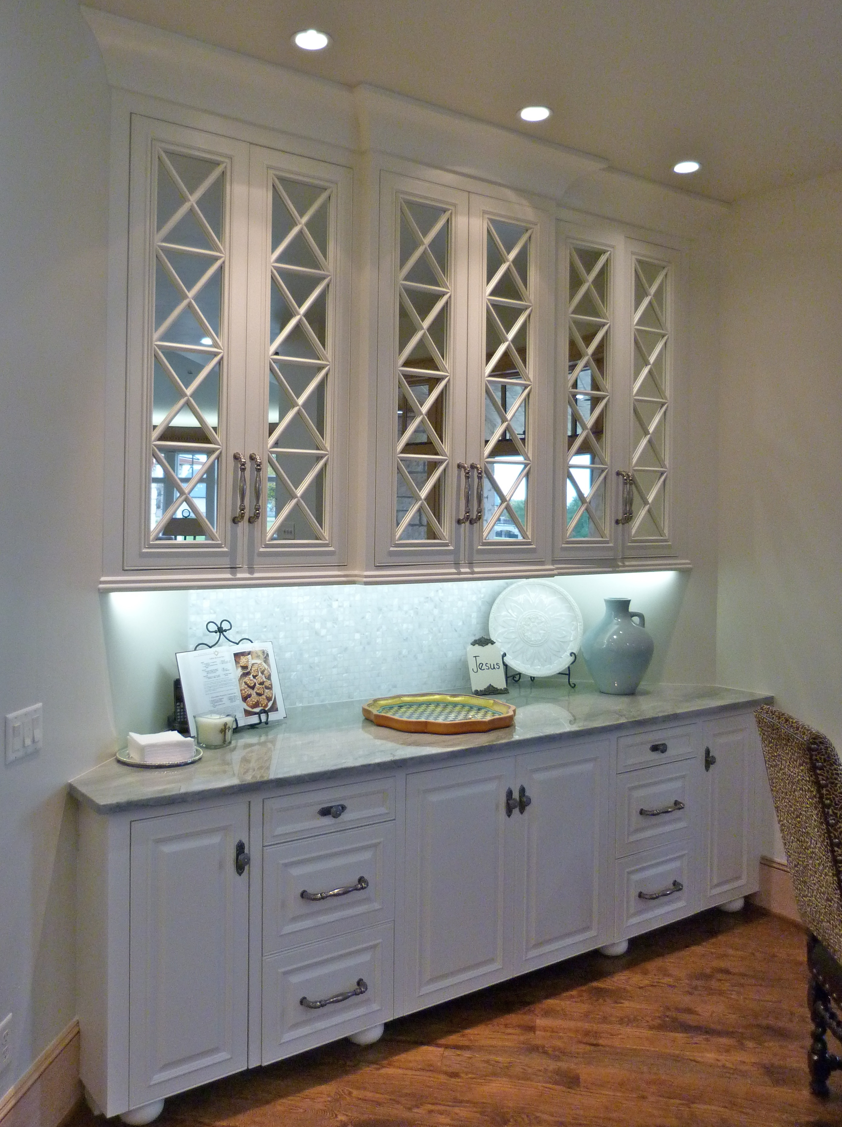 handyman okc kitchen remodel okc Breakfast nook with glass cabinet fronts in Majestic Construction kitchen remodel