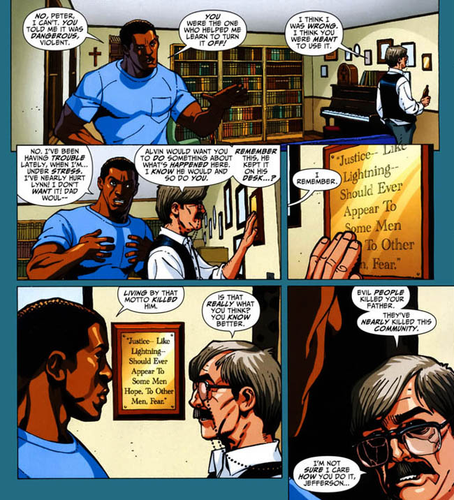 "[Van Meter, Jen (w), Hamner, Cully (p&i).] ""Black Lightning: Year One.""  Black Lightning: Yea #1 (March 2009), p.18, DC Comics Inc."
