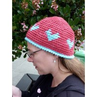 Crochet Colorwork Heart Hat