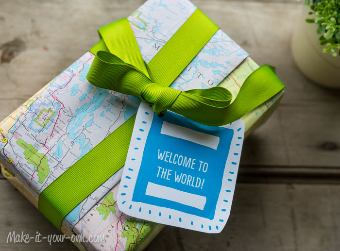Up Cycle Gift Wrap Idea     Welcome to the World      Welcome to the World  Baby Gift Wrap