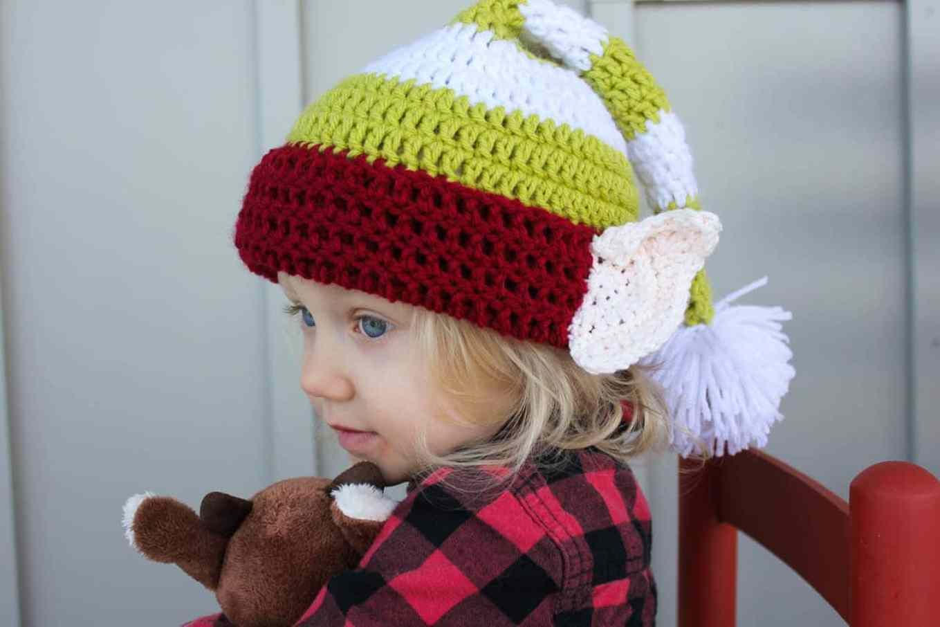 Santa s helper free crochet elf hat pattern with ears