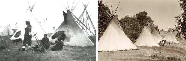 At left: Sioux family tipi. At right: Assiniboine tipis. Photo credit: Fort Peck Tribal Archives.