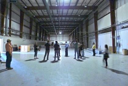 Checking out the currently unused space at the tribe's factory.