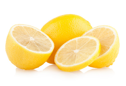 ripe lemons isolated on white background