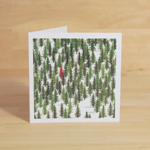 Red Tree Christmas Cards - Ned's Cabin