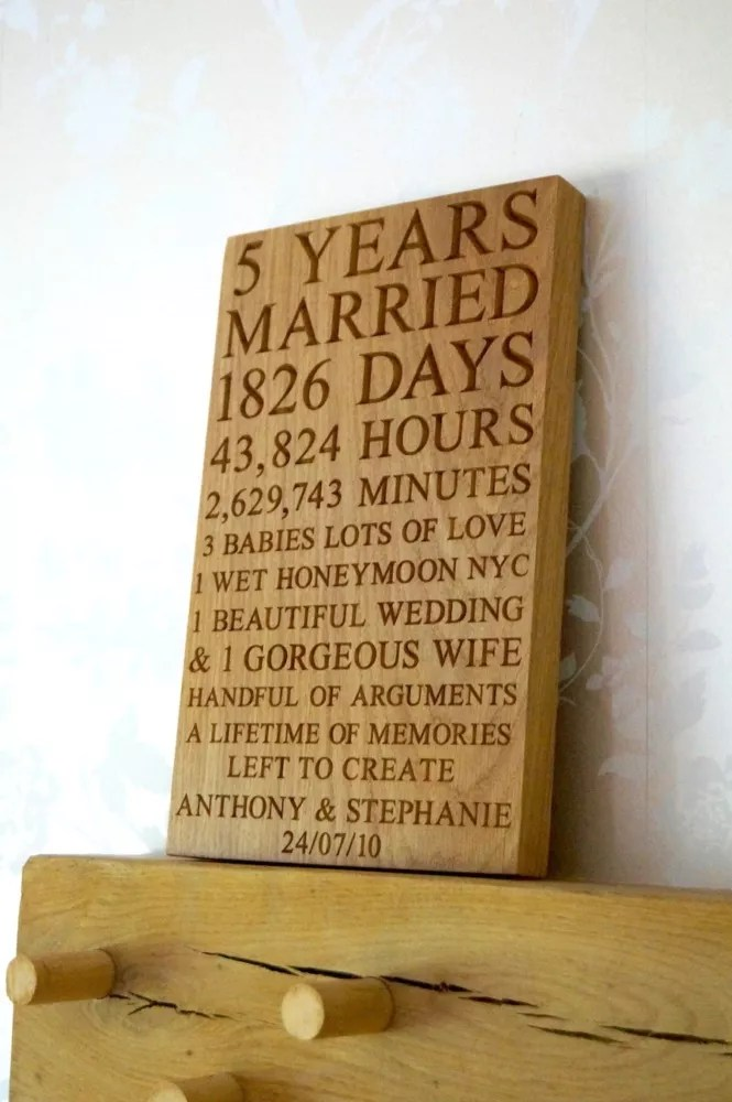 5th wedding anniversary gift ideas for him 5th wedding anniversary 5th anniversary wall plaque makemesomethingspecial co uk