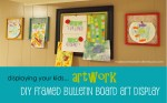 DIY Framed Bulletin Board Art Display; www.makeoversandmotherhood.com