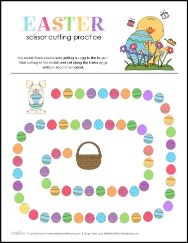 Easter Scissor Cutting Practice Sheets from Makeovers and Motherhood