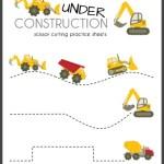 Construction Truck Scissor Cutting Practice Sheets (printable)