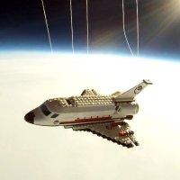LEGO shuttle in space
