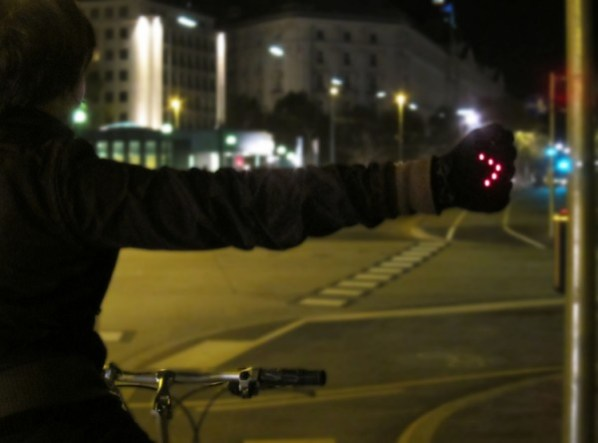 Night Biking Gloves in use