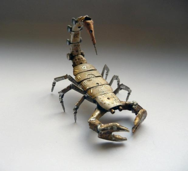 This scorpion's exoskeleton makes obvious use of former watch faces, and has an anatomically correct 6-segment tail.