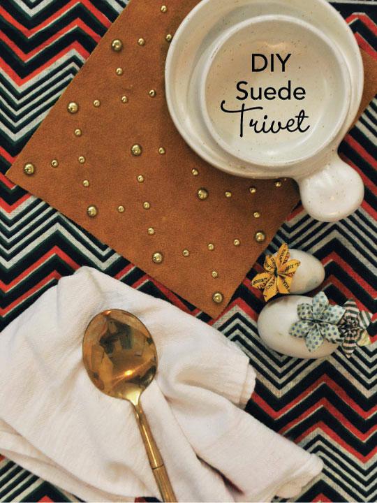 suede studded trivet