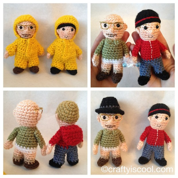 Jesse and Walt, in amigurumi form! Complete with Walt's tightie whities and yellow hazmat suits. (By Ravelry user Allison Hoffman)