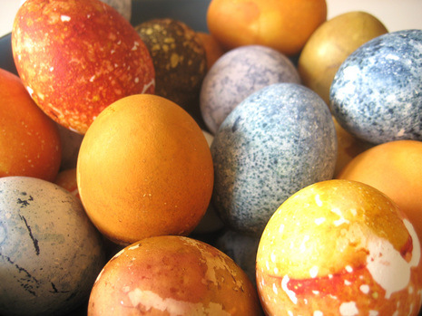 Red cabbage, beets, spinach, coffee, turmeric, and blueberries can all work to dye your eggs beautiful, natural colors.
