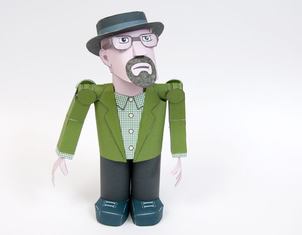 Poseable paper Heisenberg, Walter White's drug-world alter ego. Free to download on designer Rob Ives' site.