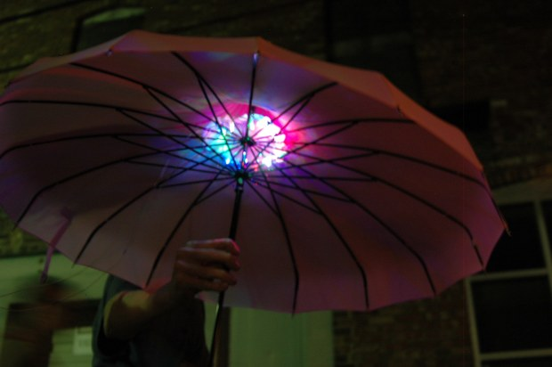 Illuminated umbrella.