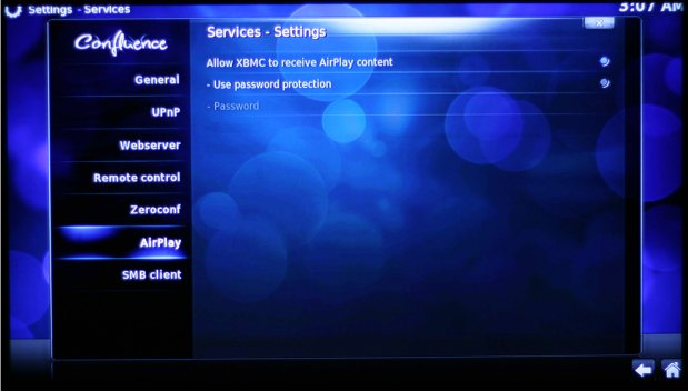 "To activate AirPlay, go to System -> Settings -> Services -> Airplay and click on ""Allow XBMC to receive AirPlay content."""