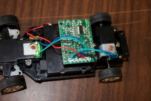 The RC car board, ready to be soldered.