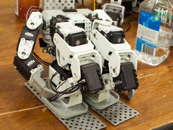 "Despite costing $50 each, these servos are considered ""low-end"" in humanoid competitions."