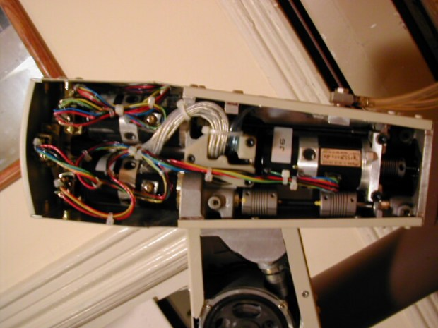 The inside of the arm, showing the motors