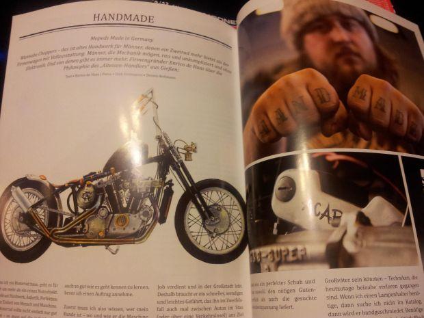"""Enrico de Haas' knuckles read """"Hand Made."""""""