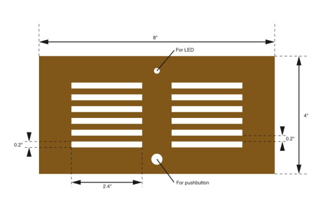 A possible plan for the lid of an enclosure for the finished version of the Ching Thing. White areas indicate cutouts.