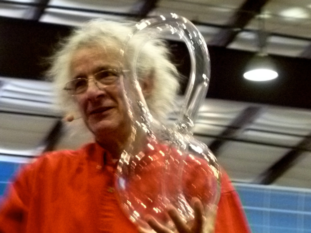 Cliff showing off a giant Klein bottle at Maker Faire Bay Area 2013.